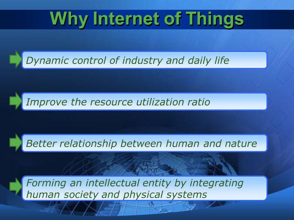 Why Internet of Things Dynamic control of industry and daily life Improve the resource utilization ratio Better relationship between human and nature