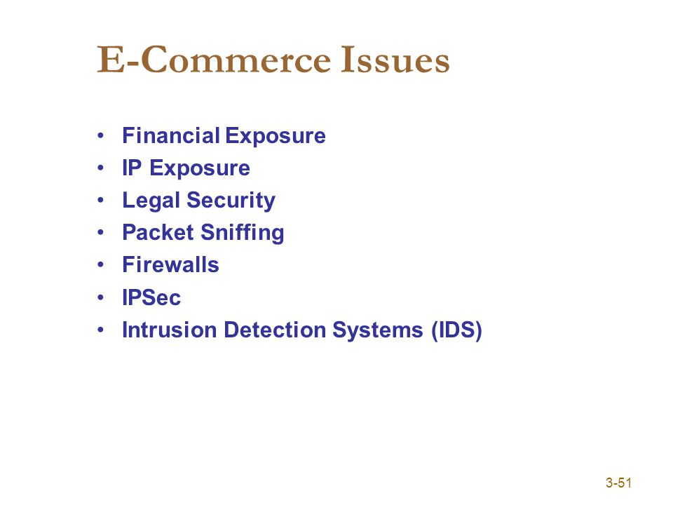 3-51 E-Commerce Issues Financial Exposure IP Exposure Legal Security Packet Sniffing Firewalls IPSec Intrusion Detection Systems (IDS)