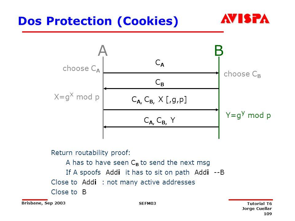 109 SEFM03 Tutorial T6 Jorge Cuellar Brisbane, Sep 2003 Dos Protection (Cookies) X=g x mod p C A, C B, X [,g,p] Y=g y mod p C A, C B, Y AB choose C A