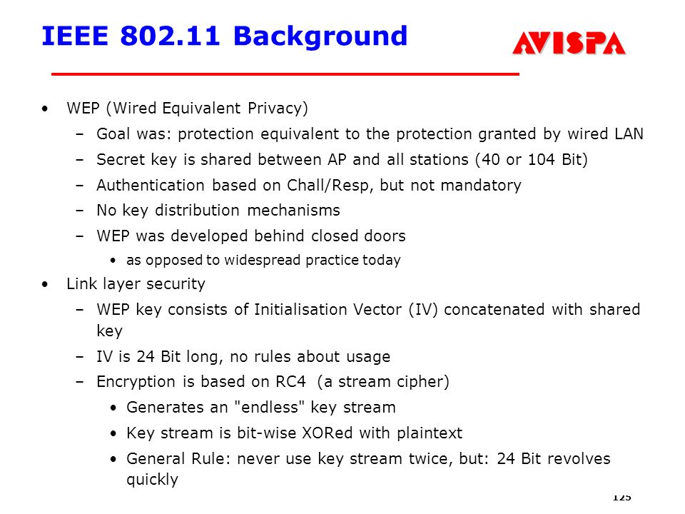 125 SEFM03 Tutorial T6 Jorge Cuellar Brisbane, Sep 2003 IEEE 802.11 Background WEP (Wired Equivalent Privacy) –Goal was: protection equivalent to the