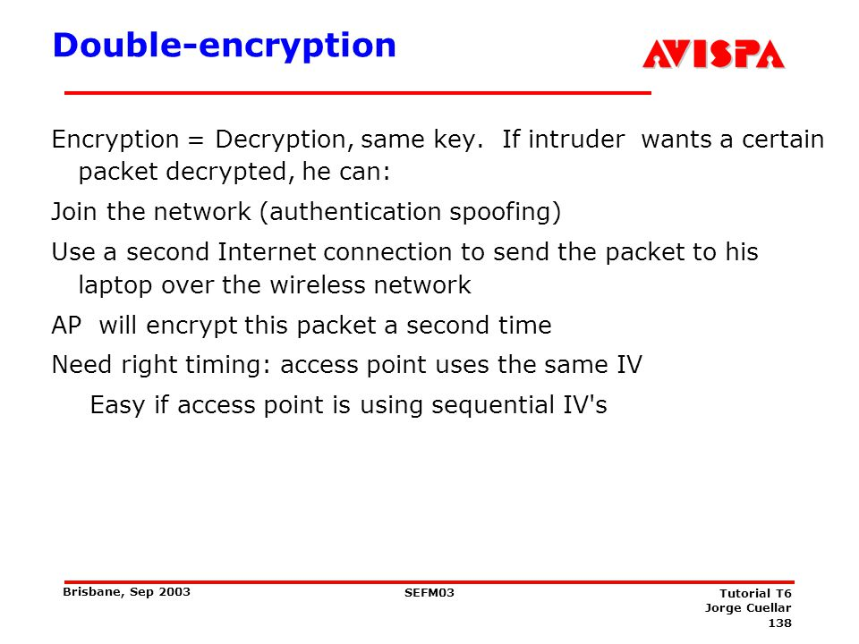 138 SEFM03 Tutorial T6 Jorge Cuellar Brisbane, Sep 2003 Double-encryption Encryption = Decryption, same key. If intruder wants a certain packet decryp