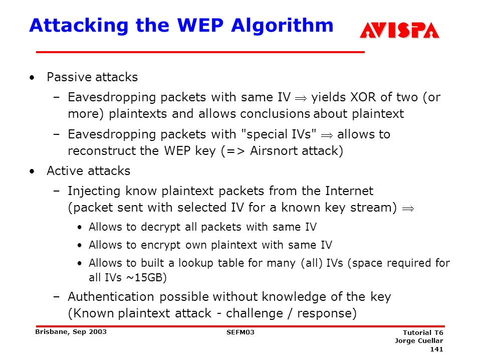 141 SEFM03 Tutorial T6 Jorge Cuellar Brisbane, Sep 2003 Attacking the WEP Algorithm Passive attacks –Eavesdropping packets with same IV yields XOR of