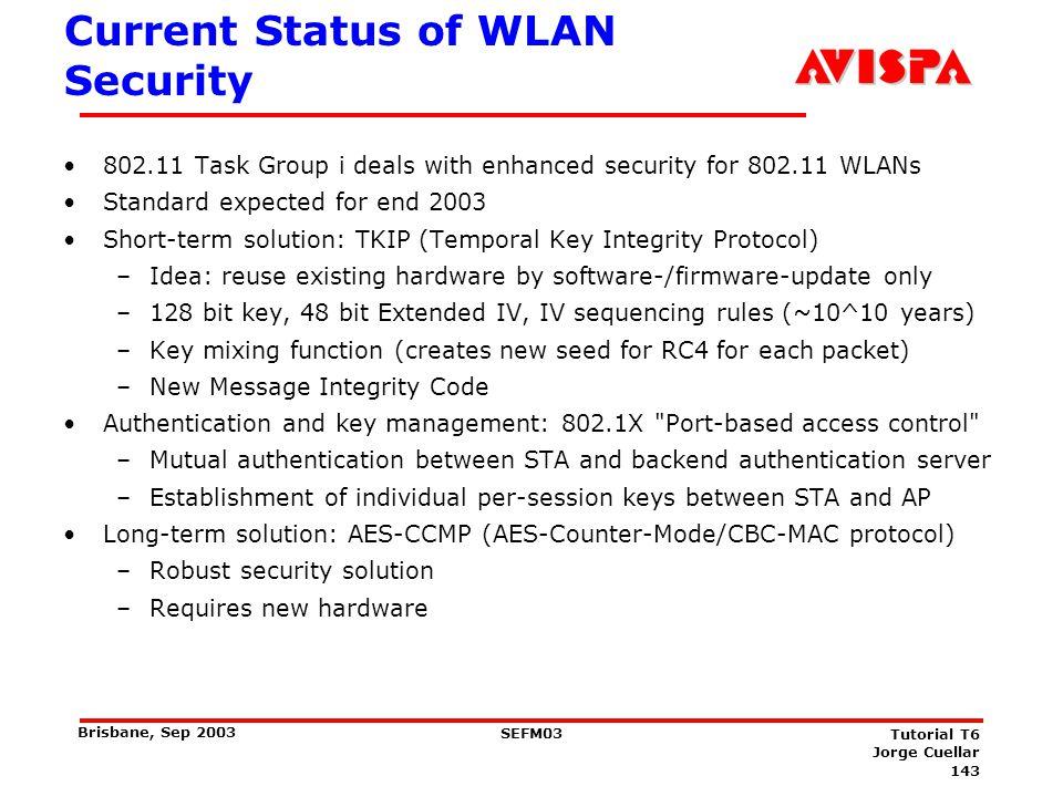 143 SEFM03 Tutorial T6 Jorge Cuellar Brisbane, Sep 2003 Current Status of WLAN Security 802.11 Task Group i deals with enhanced security for 802.11 WL