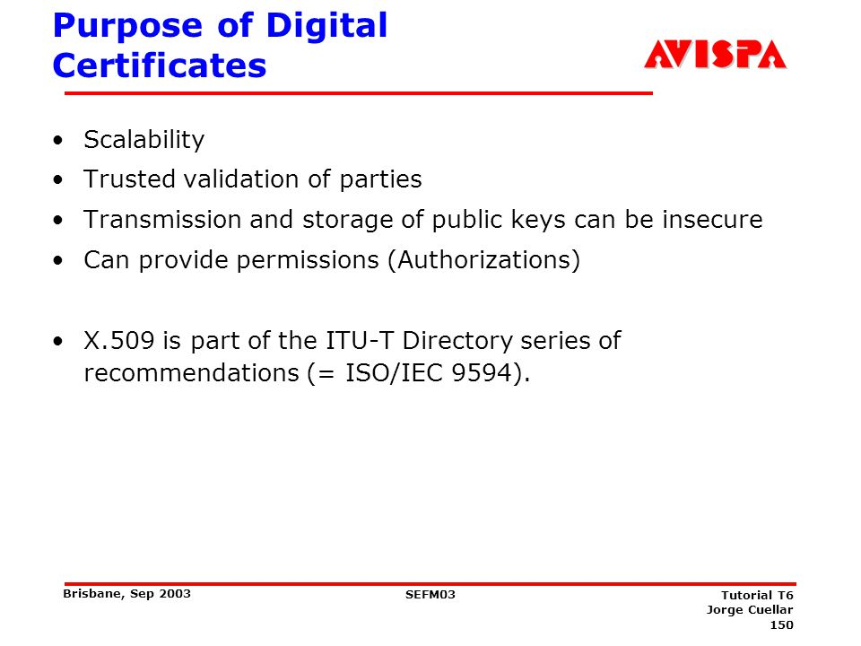 150 SEFM03 Tutorial T6 Jorge Cuellar Brisbane, Sep 2003 Purpose of Digital Certificates Scalability Trusted validation of parties Transmission and sto