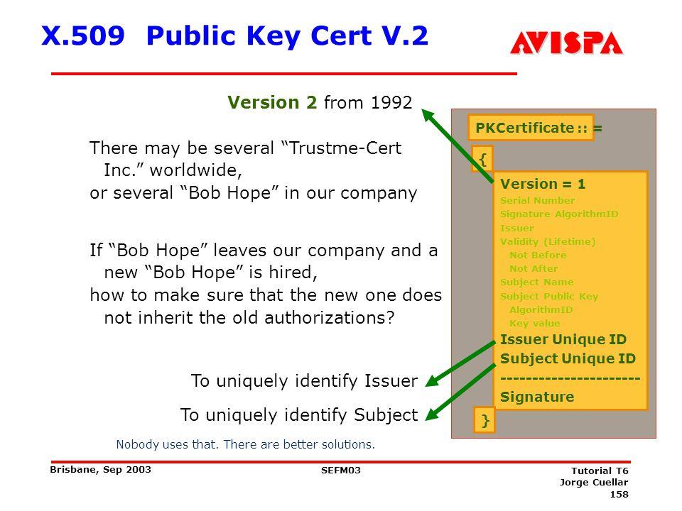 158 SEFM03 Tutorial T6 Jorge Cuellar Brisbane, Sep 2003 X.509 Public Key Cert V.2 PKCertificate :: = { Version = 1 Serial Number Signature AlgorithmID