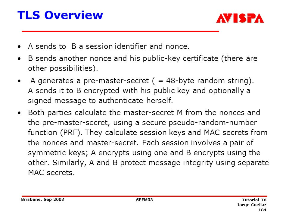 184 SEFM03 Tutorial T6 Jorge Cuellar Brisbane, Sep 2003 TLS Overview A sends to B a session identifier and nonce. B sends another nonce and his public