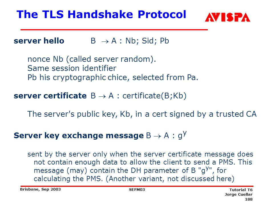 188 SEFM03 Tutorial T6 Jorge Cuellar Brisbane, Sep 2003 The TLS Handshake Protocol server hello B A : Nb; Sid; Pb nonce Nb (called server random). Sam
