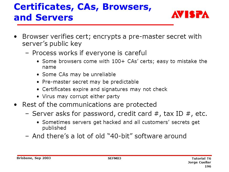 196 SEFM03 Tutorial T6 Jorge Cuellar Brisbane, Sep 2003 Certificates, CAs, Browsers, and Servers Browser verifies cert; encrypts a pre-master secret w