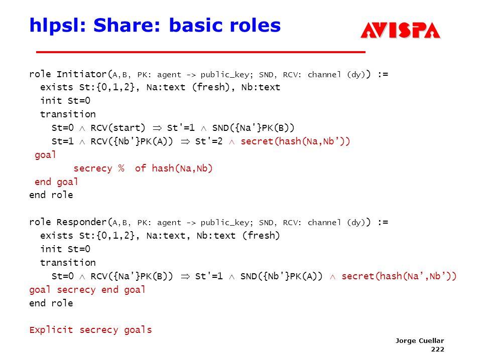 222 SEFM03 Tutorial T6 Jorge Cuellar Brisbane, Sep 2003 hlpsl: Share: basic roles role Initiator( A,B, PK: agent -> public_key; SND, RCV: channel (dy)