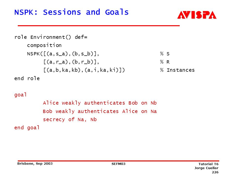 226 SEFM03 Tutorial T6 Jorge Cuellar Brisbane, Sep 2003 NSPK: Sessions and Goals role Environment() def= composition NSPK([(a,s_a),(b,s_b)], % S [(a,r