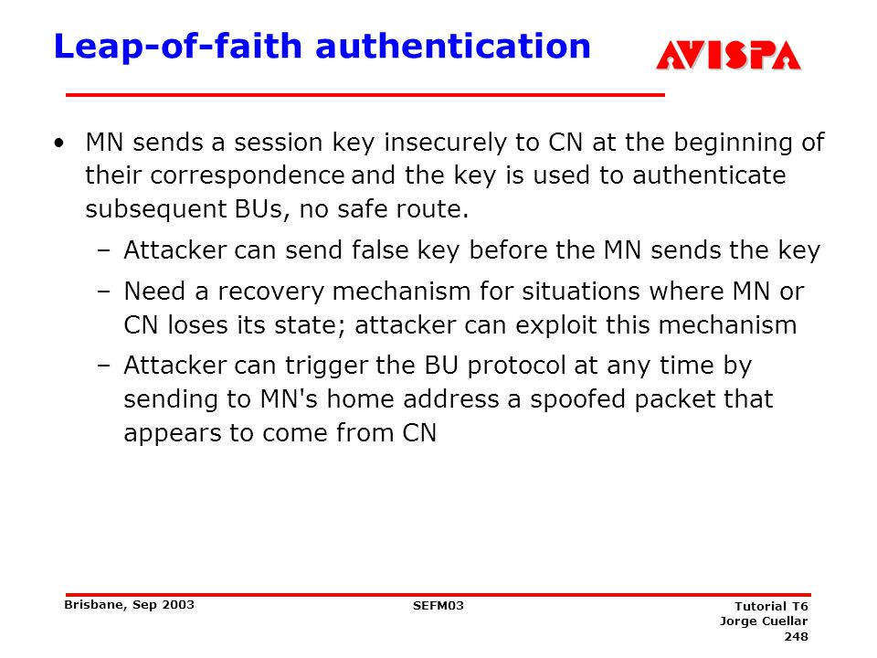 248 SEFM03 Tutorial T6 Jorge Cuellar Brisbane, Sep 2003 Leap-of-faith authentication MN sends a session key insecurely to CN at the beginning of their