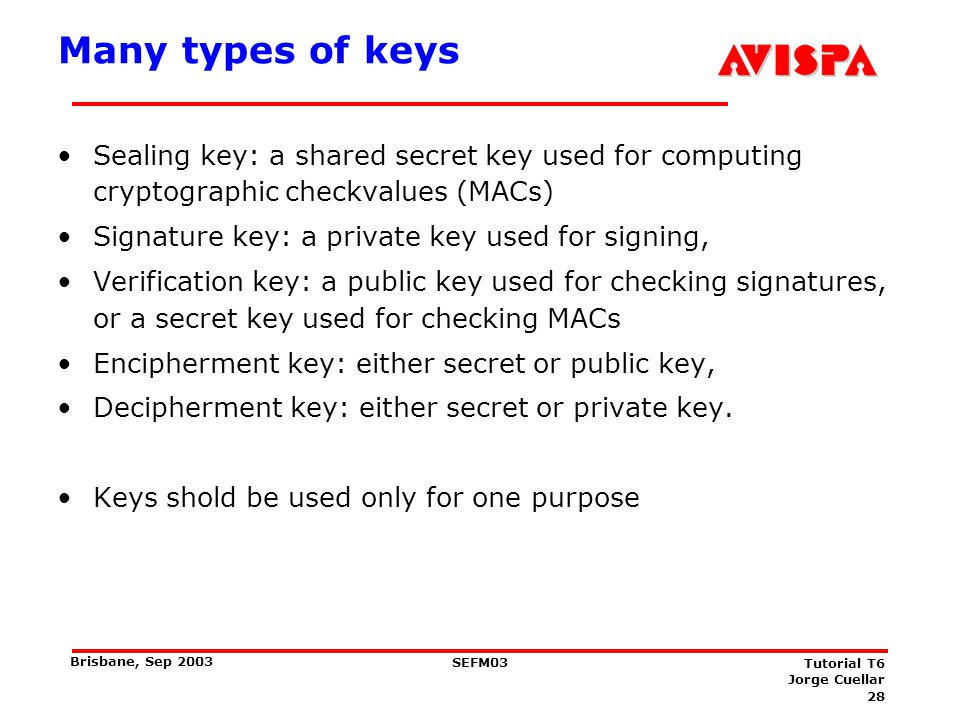 28 SEFM03 Tutorial T6 Jorge Cuellar Brisbane, Sep 2003 Many types of keys Sealing key: a shared secret key used for computing cryptographic checkvalue