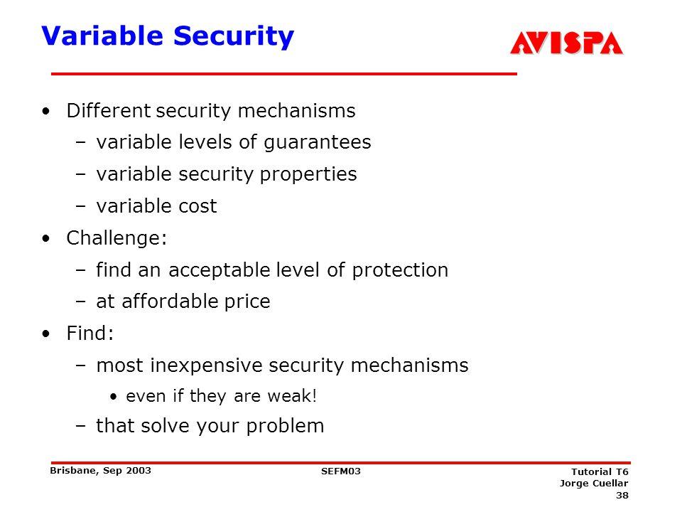 38 SEFM03 Tutorial T6 Jorge Cuellar Brisbane, Sep 2003 Variable Security Different security mechanisms –variable levels of guarantees –variable securi