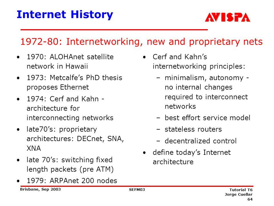64 SEFM03 Tutorial T6 Jorge Cuellar Brisbane, Sep 2003 1972-80: Internetworking, new and proprietary nets Internet History 1970: ALOHAnet satellite ne