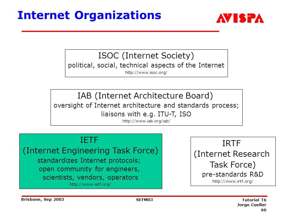 66 SEFM03 Tutorial T6 Jorge Cuellar Brisbane, Sep 2003 Internet Organizations ISOC (Internet Society) political, social, technical aspects of the Inte