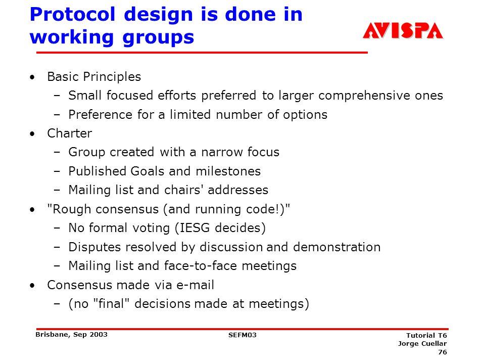 76 SEFM03 Tutorial T6 Jorge Cuellar Brisbane, Sep 2003 Protocol design is done in working groups Basic Principles –Small focused efforts preferred to