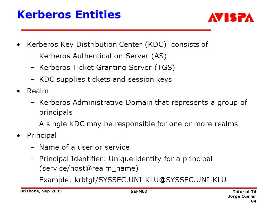 84 SEFM03 Tutorial T6 Jorge Cuellar Brisbane, Sep 2003 Kerberos Entities Kerberos Key Distribution Center (KDC) consists of –Kerberos Authentication S