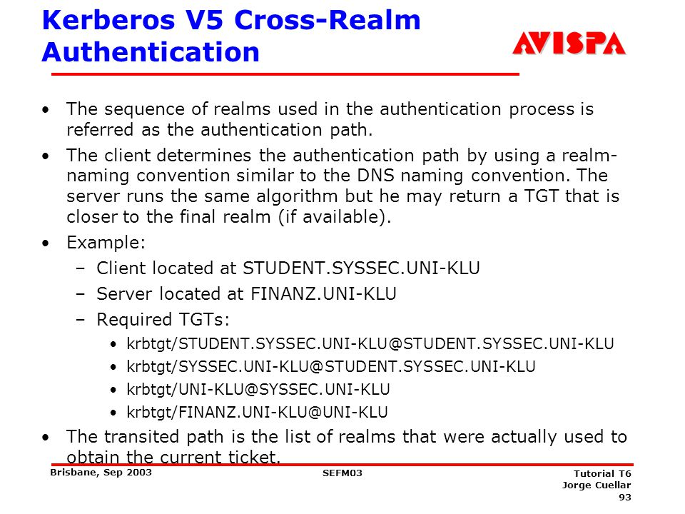 93 SEFM03 Tutorial T6 Jorge Cuellar Brisbane, Sep 2003 Kerberos V5 Cross-Realm Authentication The sequence of realms used in the authentication proces