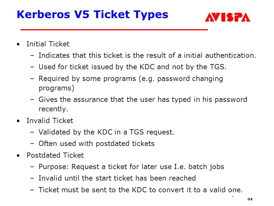 94 SEFM03 Tutorial T6 Jorge Cuellar Brisbane, Sep 2003 Kerberos V5 Ticket Types Initial Ticket –Indicates that this ticket is the result of a initial