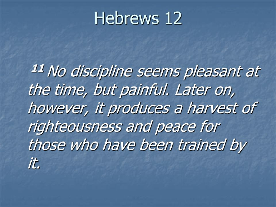 Hebrews 12 11 No discipline seems pleasant at the time, but painful.