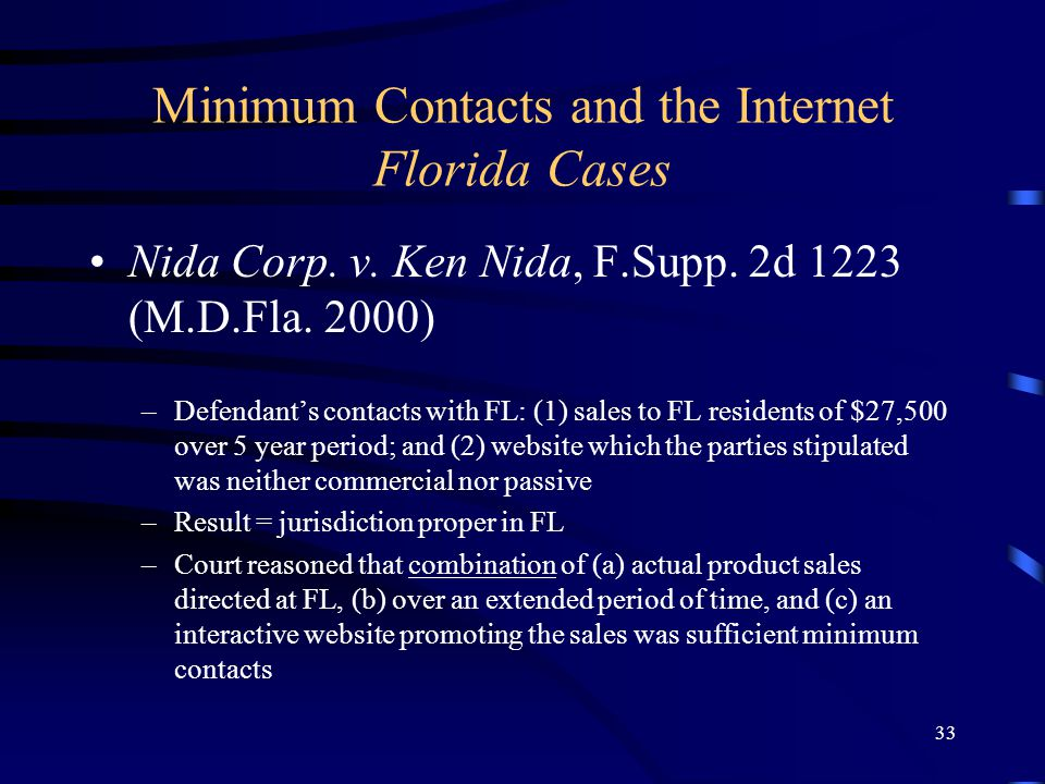 33 Minimum Contacts and the Internet Florida Cases Nida Corp.