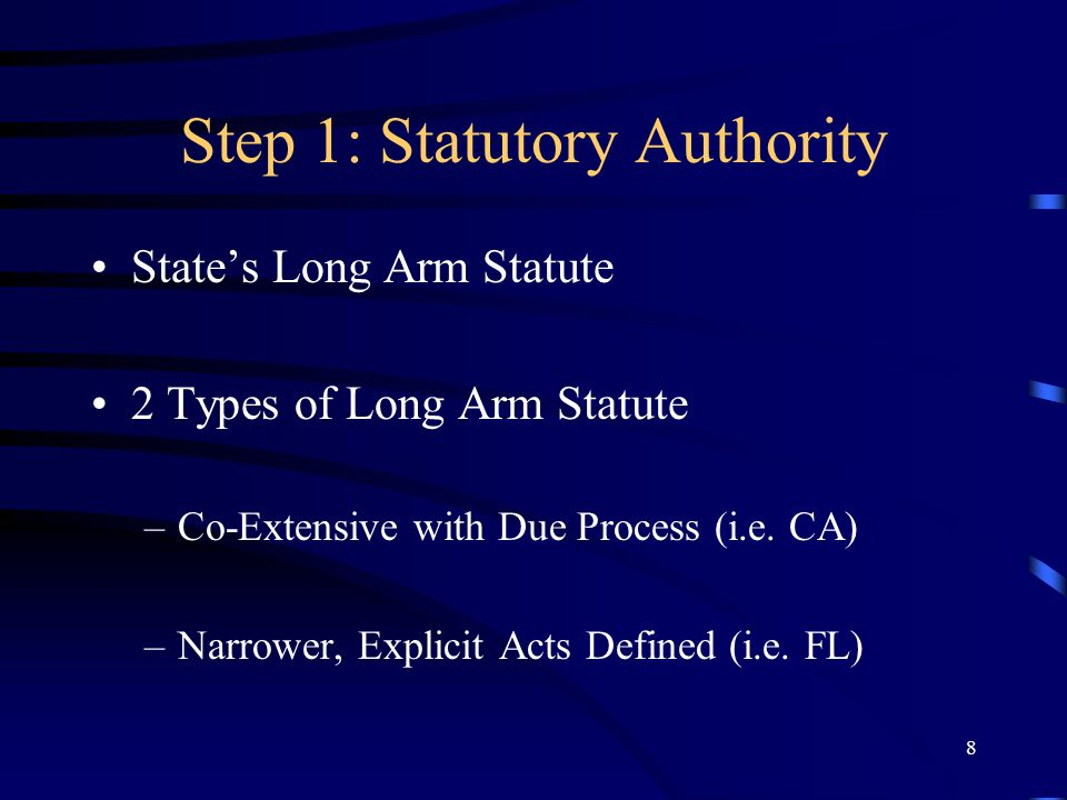 8 Step 1: Statutory Authority States Long Arm Statute 2 Types of Long Arm Statute –Co-Extensive with Due Process (i.e. CA) –Narrower, Explicit Acts De