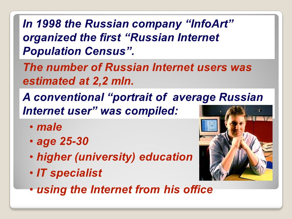 1998 is the beginning of the Internet audience monitoring measurements in Russia.