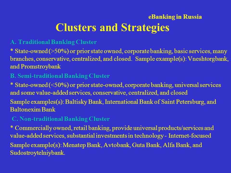 Clusters and Strategies A.
