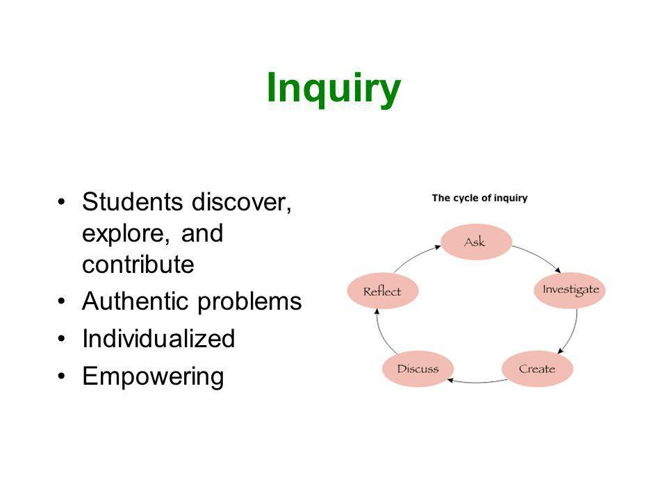 Inquiry Students discover, explore, and contribute Authentic problems Individualized Empowering