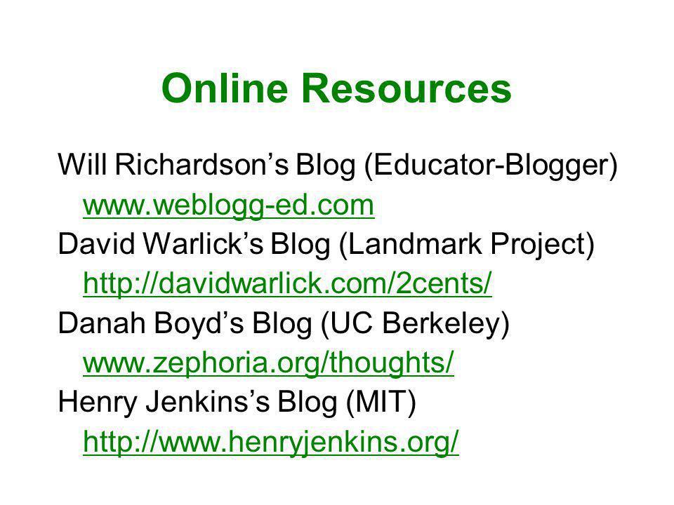 Online Resources Will Richardsons Blog (Educator-Blogger) www.weblogg-ed.com David Warlicks Blog (Landmark Project) http://davidwarlick.com/2cents/ Danah Boyds Blog (UC Berkeley) www.zephoria.org/thoughts/ Henry Jenkinss Blog (MIT) http://www.henryjenkins.org/