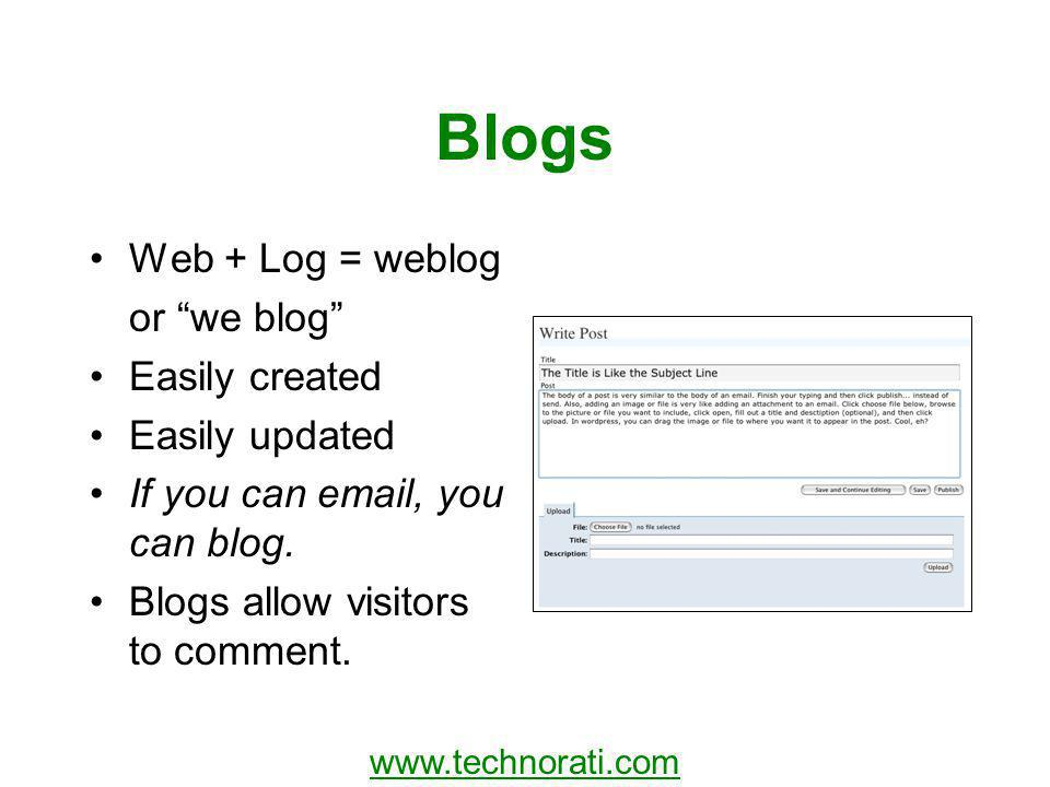 Blogs Web + Log = weblog or we blog Easily created Easily updated If you can email, you can blog.
