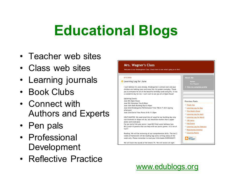 Educational Blogs Teacher web sites Class web sites Learning journals Book Clubs Connect with Authors and Experts Pen pals Professional Development Re