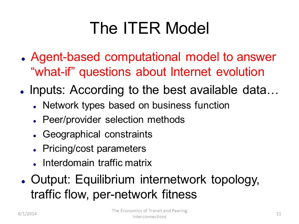The ITER Model Agent-based computational model to answer what-if questions about Internet evolution Inputs: According to the best available data… Netw