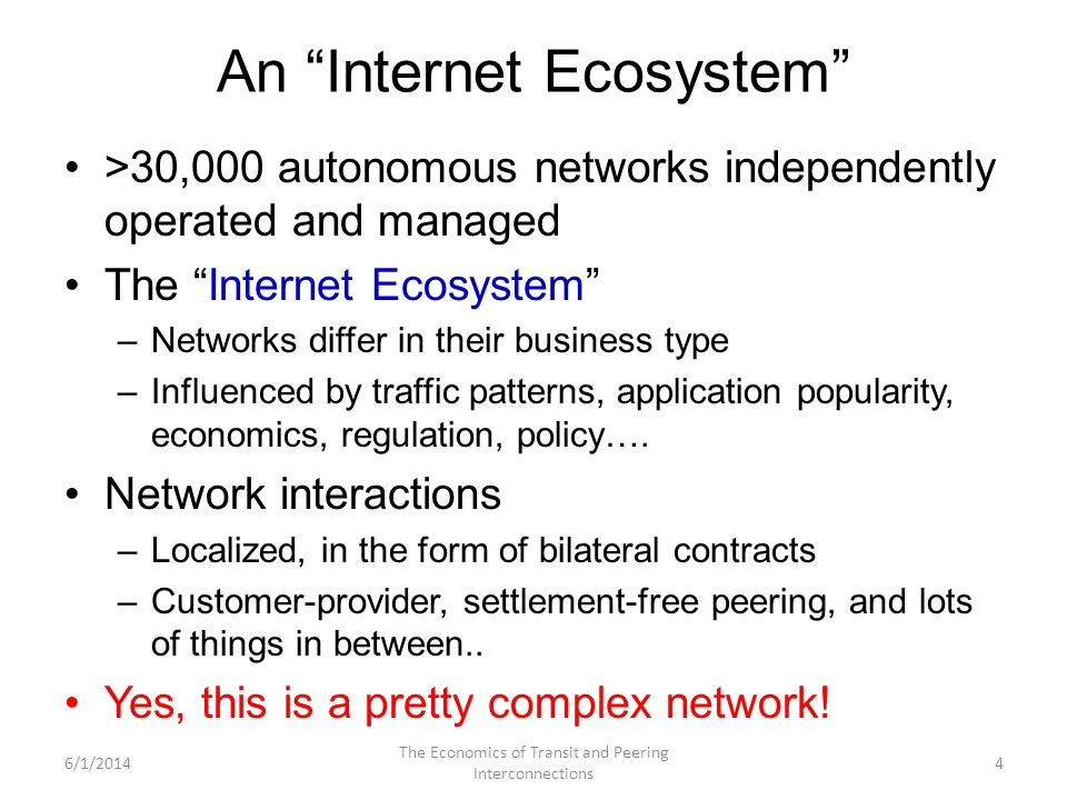 An Internet Ecosystem >30,000 autonomous networks independently operated and managed The Internet Ecosystem –Networks differ in their business type –I