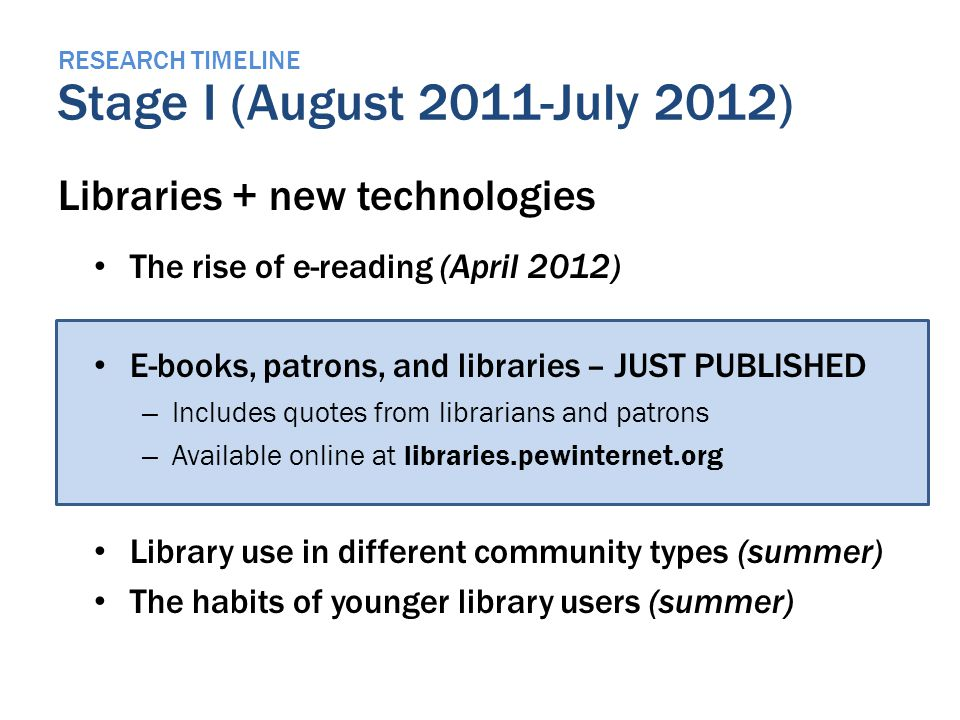 RESEARCH TIMELINE Stage I (August 2011-July 2012) Libraries + new technologies The rise of e-reading (April 2012) E-books, patrons, and libraries – JUST PUBLISHED – Includes quotes from librarians and patrons – Available online at libraries.pewinternet.org Library use in different community types (summer) The habits of younger library users (summer)