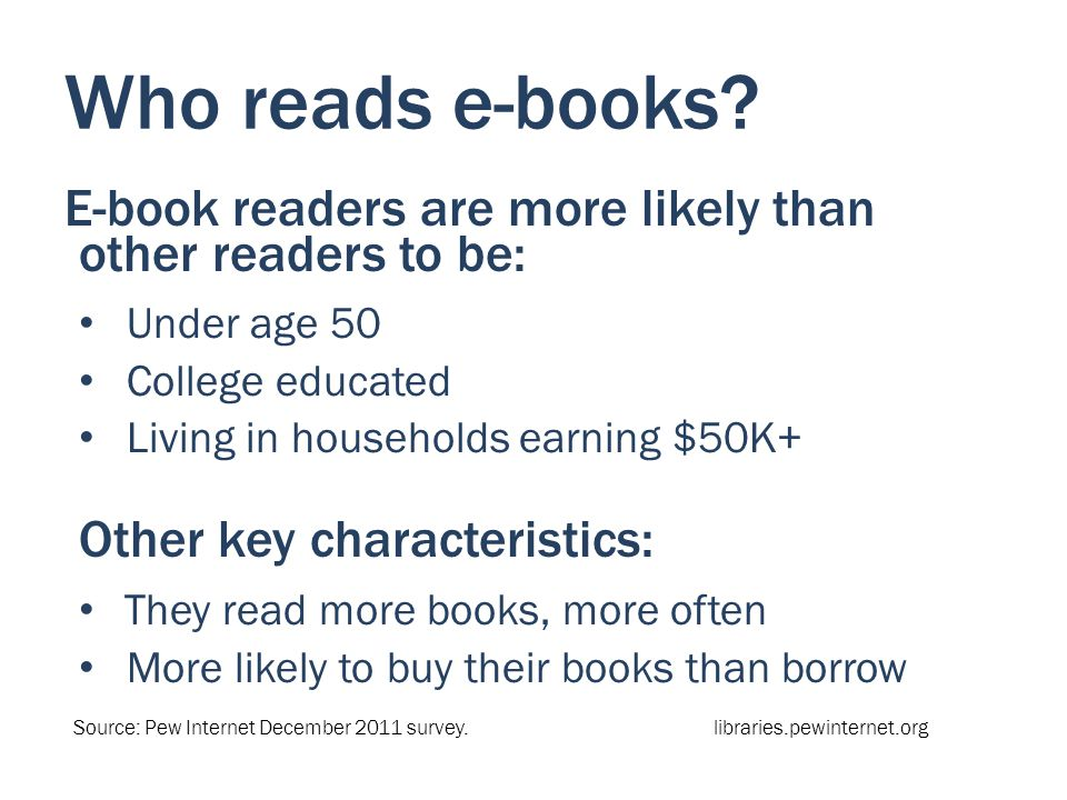 Who reads e-books? E-book readers are more likely than other readers to be: Under age 50 College educated Living in households earning $50K+ Other key
