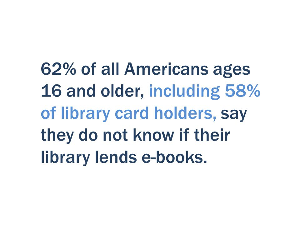 62% of all Americans ages 16 and older, including 58% of library card holders, say they do not know if their library lends e-books.