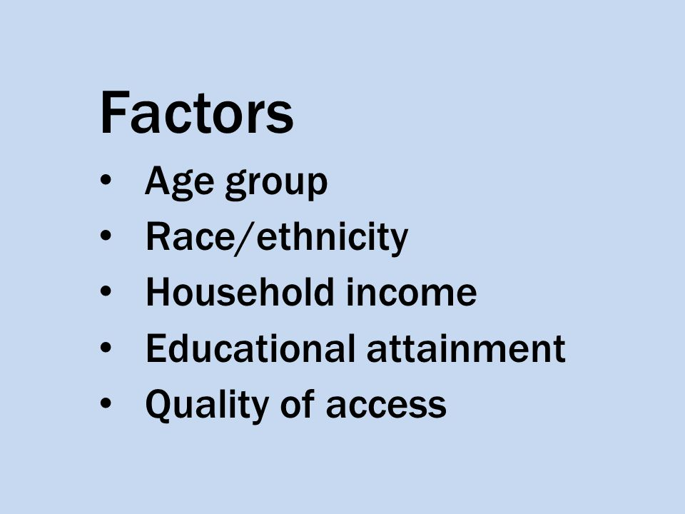 Factors Age group Race/ethnicity Household income Educational attainment Quality of access