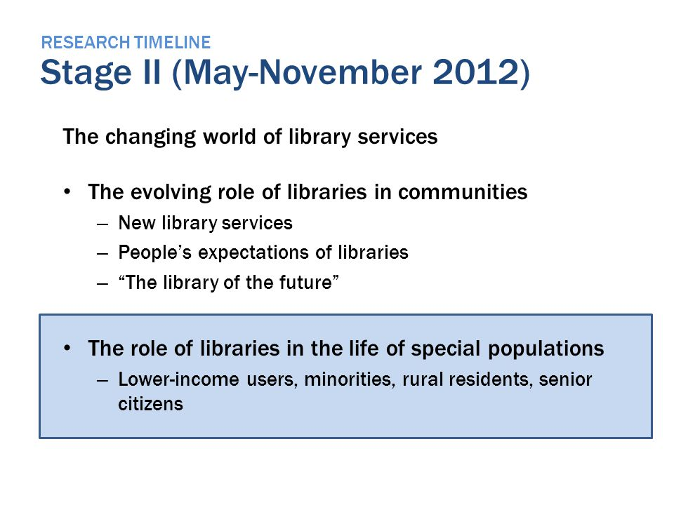 RESEARCH TIMELINE Stage II (May-November 2012) The changing world of library services The evolving role of libraries in communities – New library services – Peoples expectations of libraries – The library of the future The role of libraries in the life of special populations – Lower-income users, minorities, rural residents, senior citizens