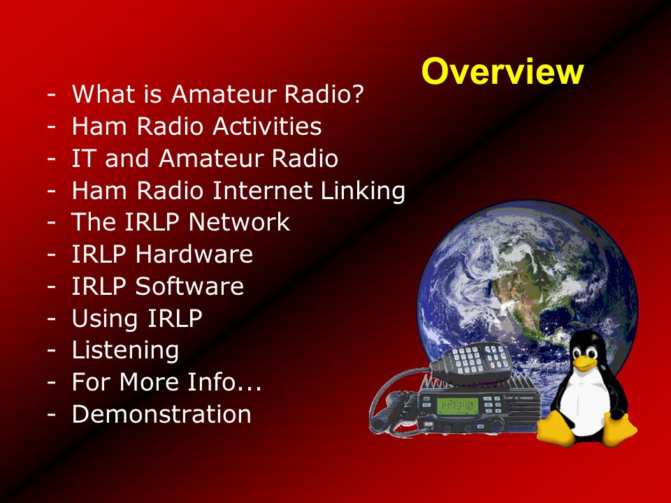 Overview -What is Amateur Radio? -Ham Radio Activities -IT and Amateur Radio -Ham Radio Internet Linking -The IRLP Network -IRLP Hardware -IRLP Softwa