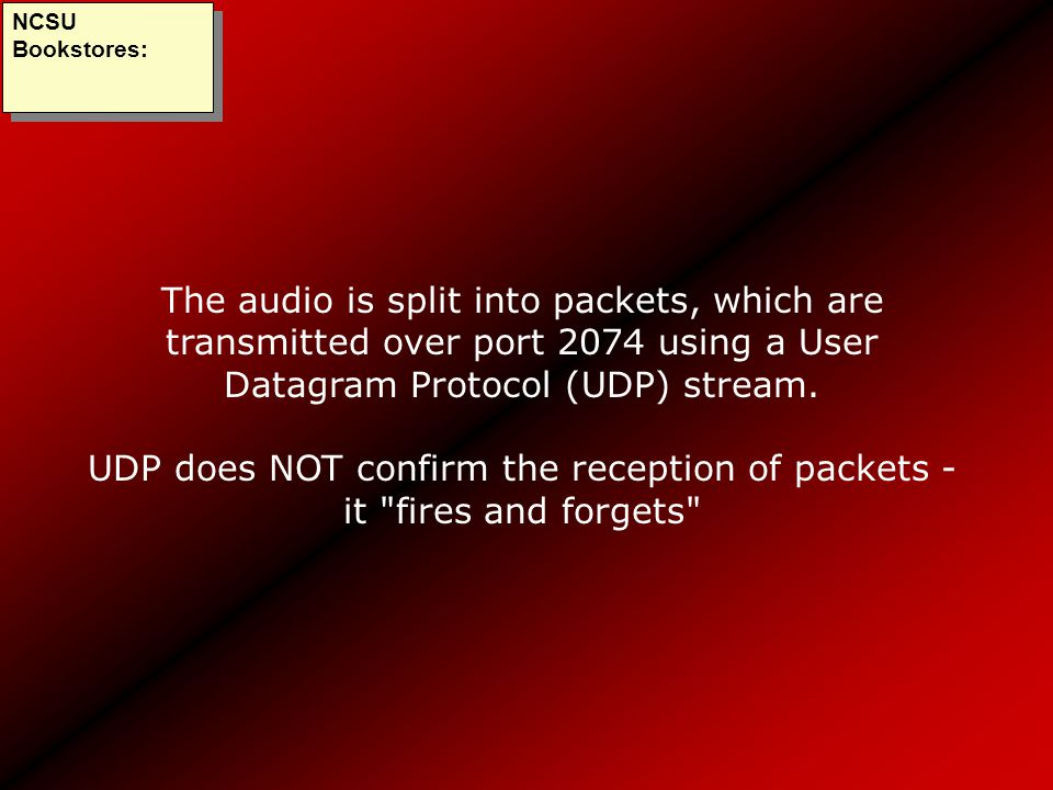 The audio is split into packets, which are transmitted over port 2074 using a User Datagram Protocol (UDP) stream. UDP does NOT confirm the reception