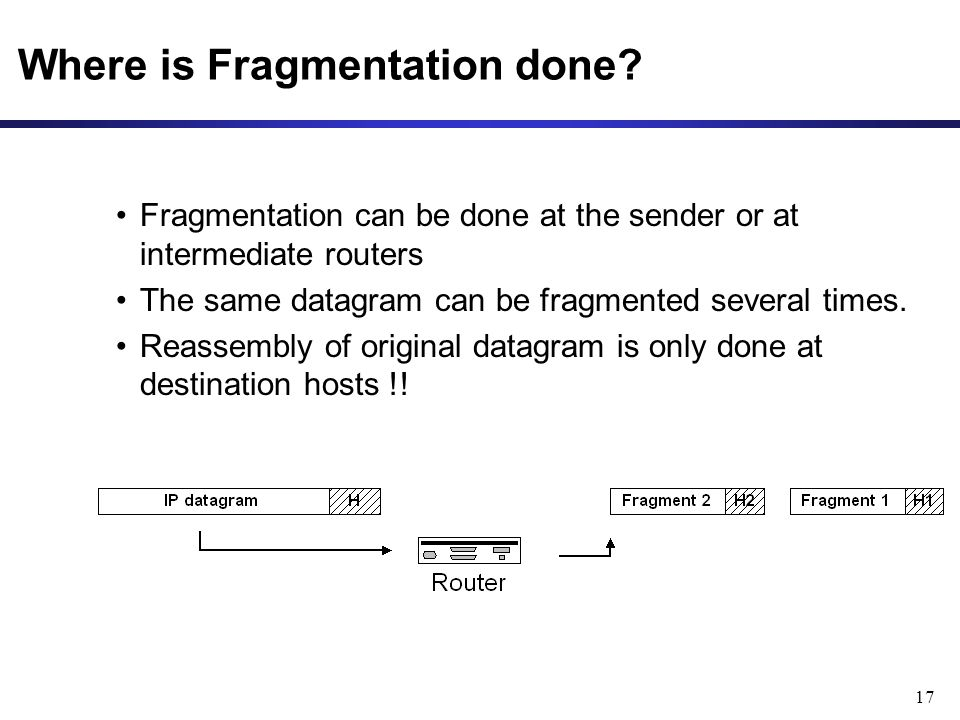 17 Where is Fragmentation done.