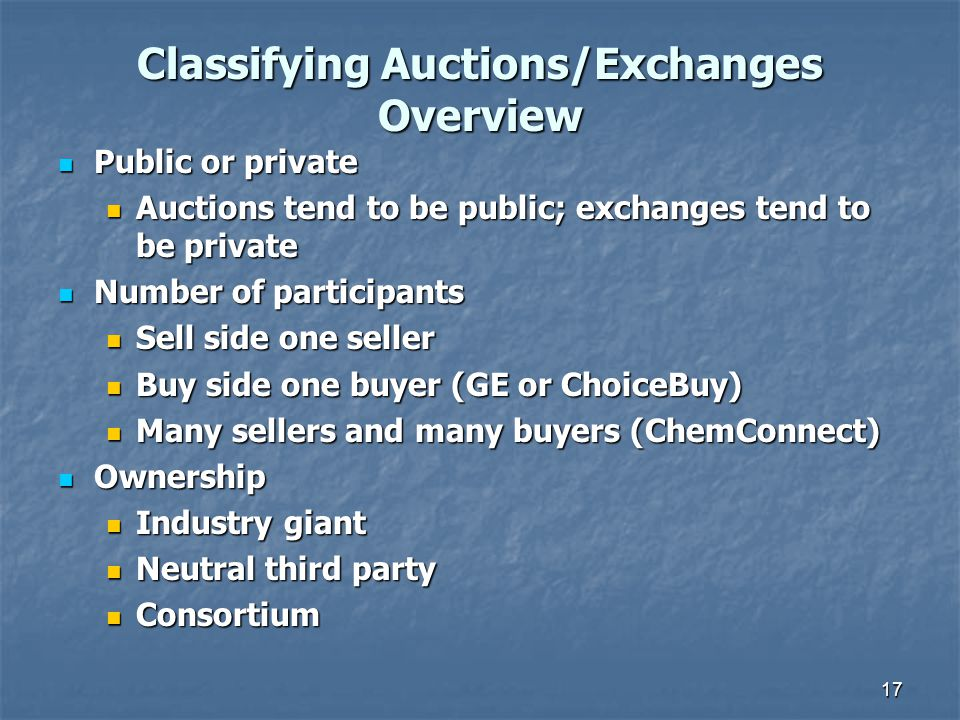 Classifying Auctions/Exchanges Overview Public or private Public or private Auctions tend to be public; exchanges tend to be private Auctions tend to