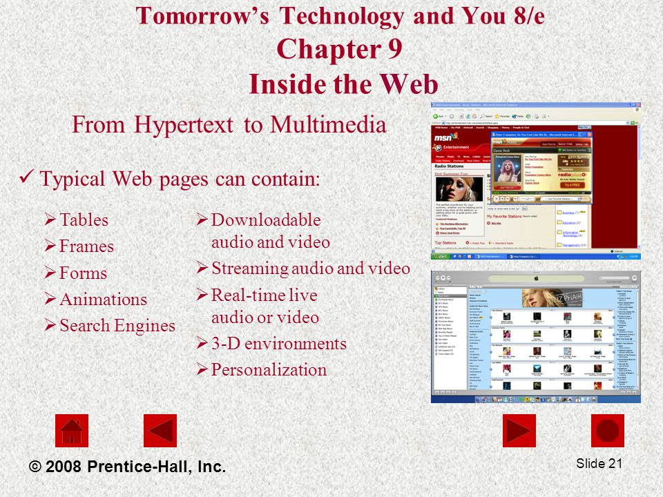 Slide 21 Tomorrows Technology and You 8/e Chapter 9 Inside the Web From Hypertext to Multimedia Typical Web pages can contain: © 2008 Prentice-Hall, Inc.