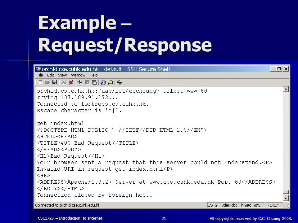 CSC1720 – Introduction to Internet All copyrights reserved by C.C. Cheung 2003.21 Example – Request/Response
