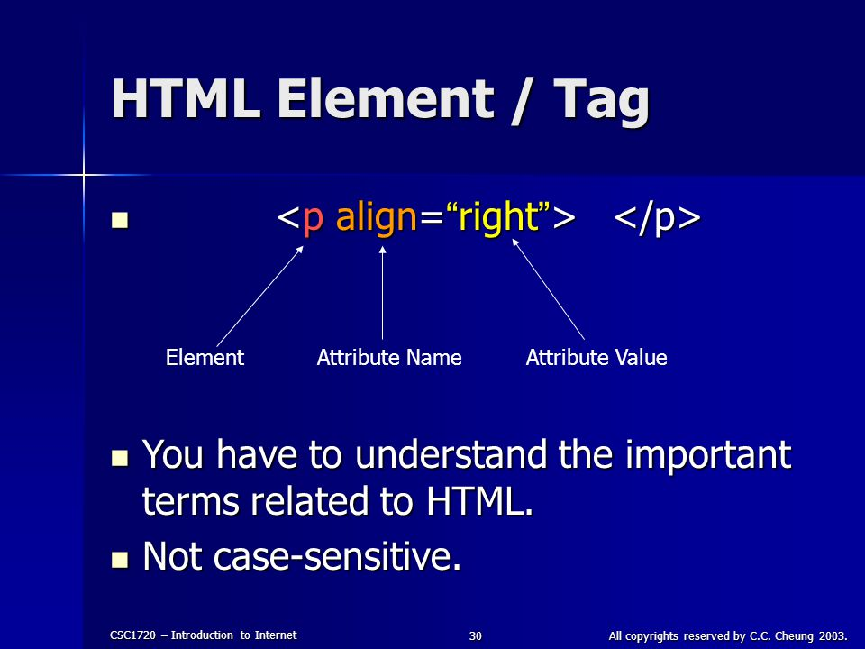 CSC1720 – Introduction to Internet All copyrights reserved by C.C. Cheung 2003.30 HTML Element / Tag ElementAttribute NameAttribute Value You have to