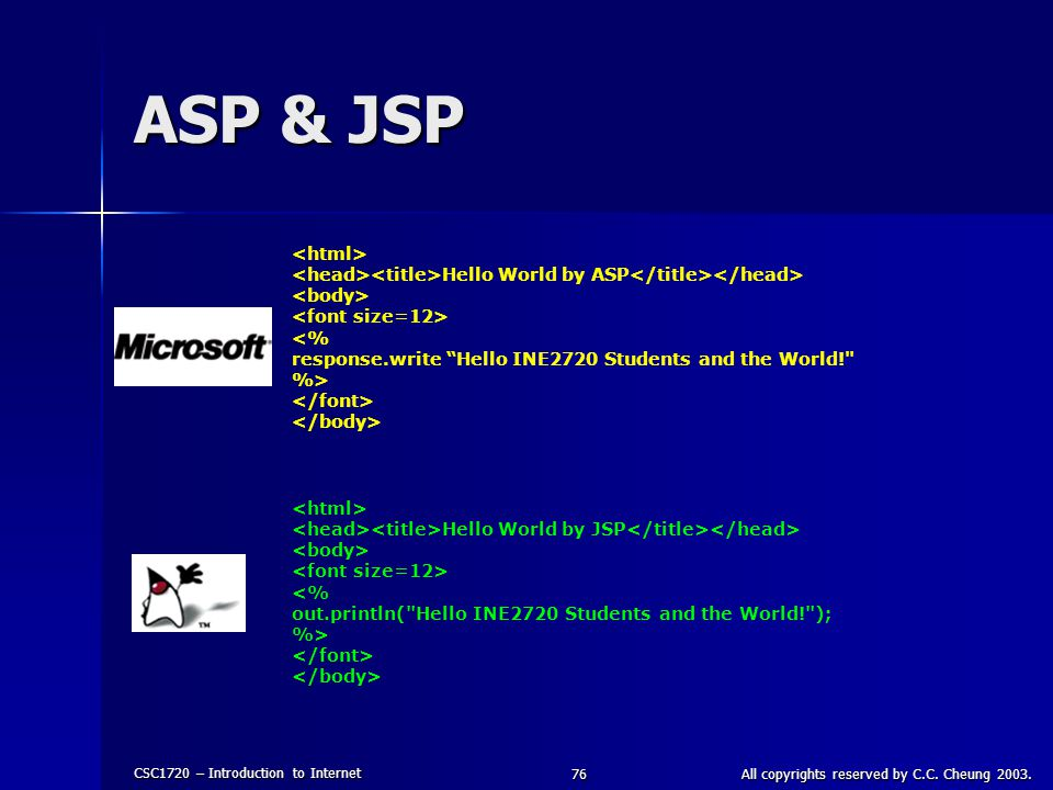 CSC1720 – Introduction to Internet All copyrights reserved by C.C. Cheung 2003.76 ASP & JSP Hello World by ASP <% response.write Hello INE2720 Student