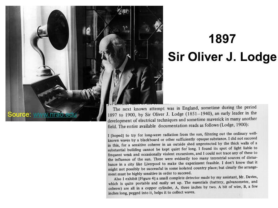 1897 Sir Oliver J. Lodge Source: www.nrao.eduwww.nrao.edu