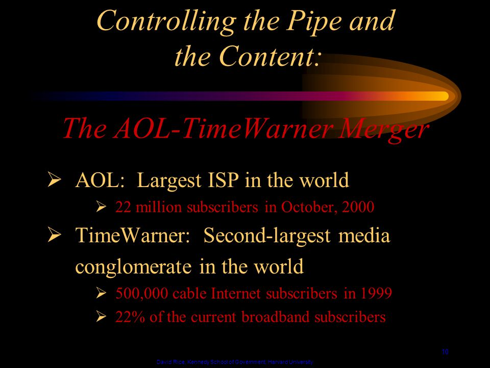David Rice, Kennedy School of Government, Harvard University 10 Controlling the Pipe and the Content: The AOL-TimeWarner Merger AOL: Largest ISP in the world 22 million subscribers in October, 2000 TimeWarner: Second-largest media conglomerate in the world 500,000 cable Internet subscribers in 1999 22% of the current broadband subscribers