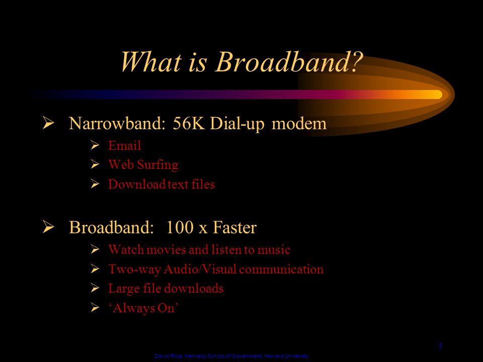 David Rice, Kennedy School of Government, Harvard University 4 Broadband Technologies DSL Cable ATM Satellite Wireless Fixed Wireless Fiber